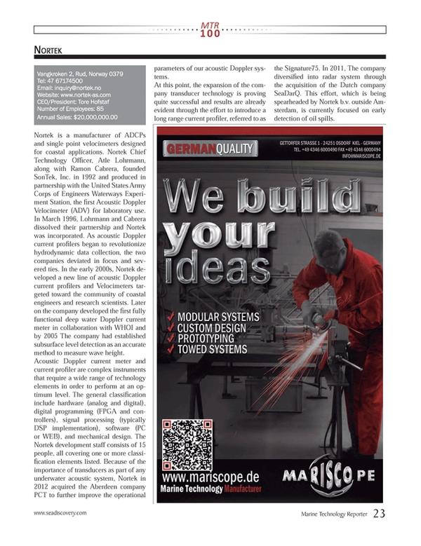Marine Technology Magazine, page 23,  Jul 2013 $20,000,000.00www.seadiscovery.com Marine Technology