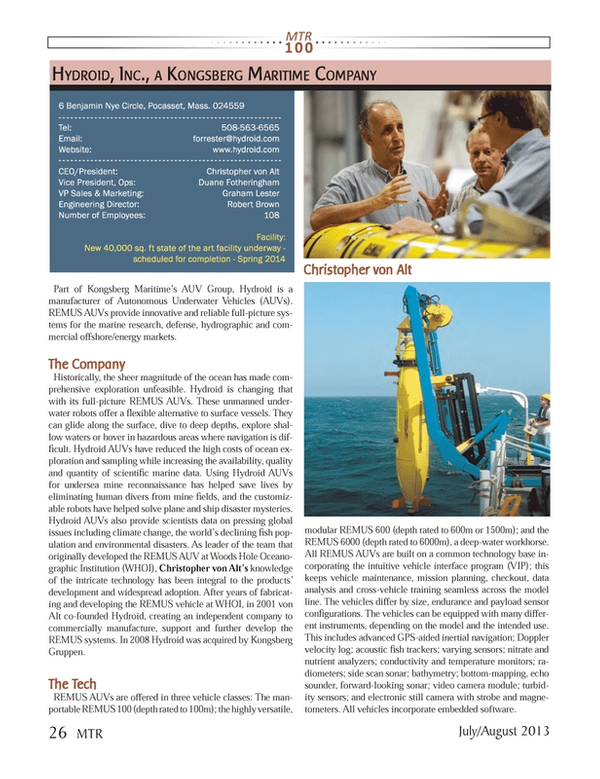 Marine Technology Magazine, page 26,  Jul 2013 Autonomous Underwater Vehicles (AUVs)