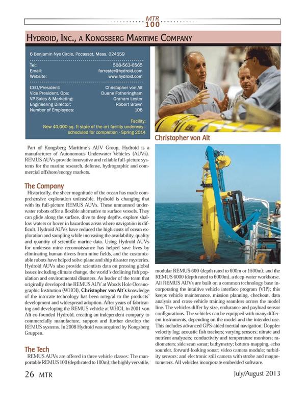 Marine Technology Magazine, page 26,  Jul 2013 Autonomous Underwater Vehicles (AUVs)