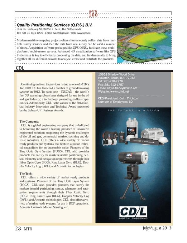 Marine Technology Magazine, page 28,  Jul 2013 4D visualization software