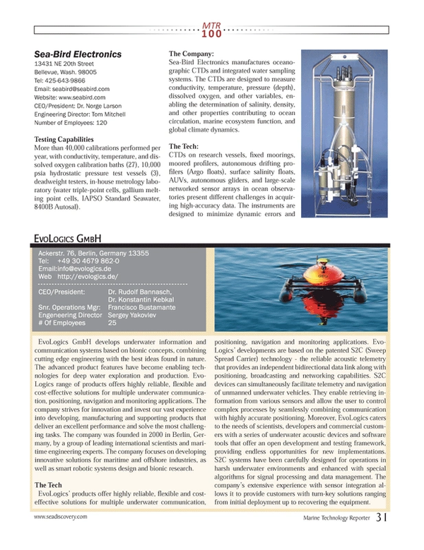 Marine Technology Magazine, page 31,  Jul 2013 Konstantin Kebkal