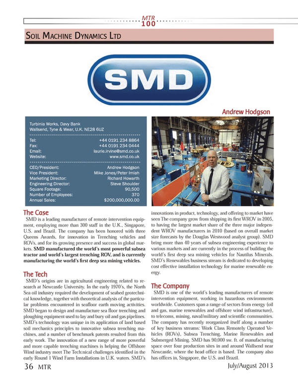 Marine Technology Magazine, page 36,  Jul 2013 Steve Shoulder