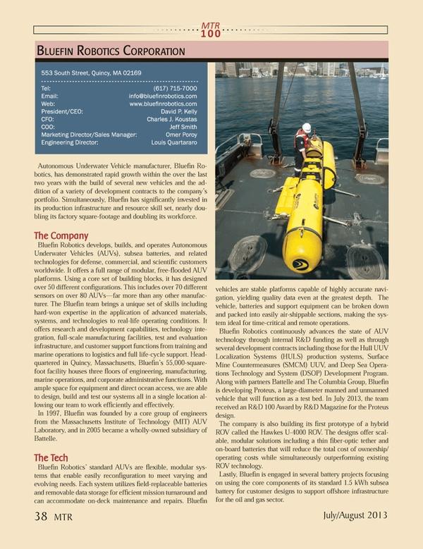 Marine Technology Magazine, page 38,  Jul 2013 AUV