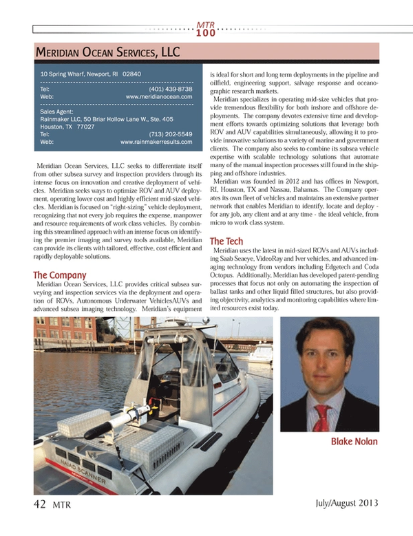 Marine Technology Magazine, page 42,  Jul 2013 Blake NolanBlake