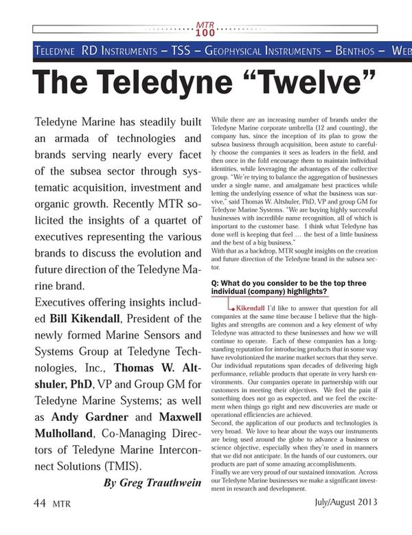 Marine Technology Magazine, page 44,  Jul 2013 Thomas W. Altshuler