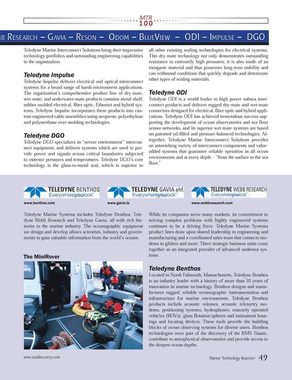 Marine Technology Magazine, page 49,  Jul 2013 Benthos technologies
