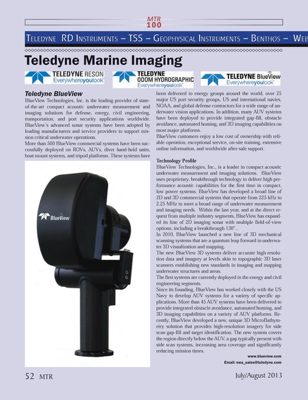 Marine Technology Magazine, page 52,  Jul 2013