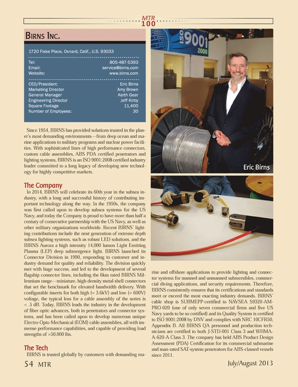 Marine Technology Magazine, page 54,  Jul 2013 Eric BirnsMarketing