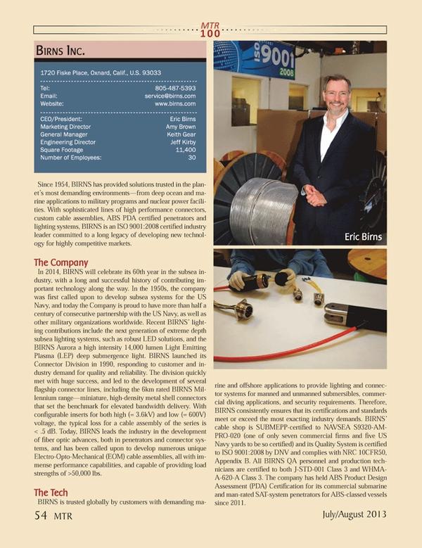 Marine Technology Magazine, page 54,  Jul 2013 Eric BirnsMarketing