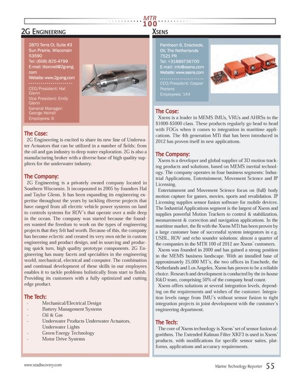 Marine Technology Magazine, page 55,  Jul 2013 Southern Wisconsin