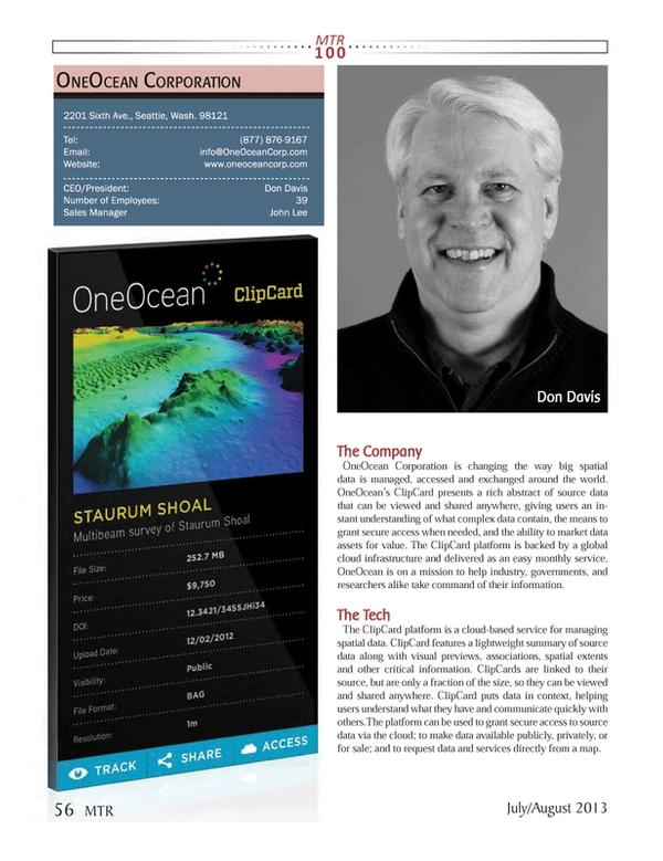 Marine Technology Magazine, page 56,  Jul 2013 39Sales