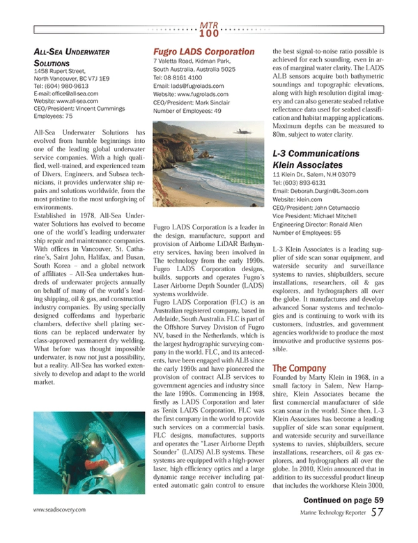 Marine Technology Magazine, page 57,  Jul 2013 British Columbia