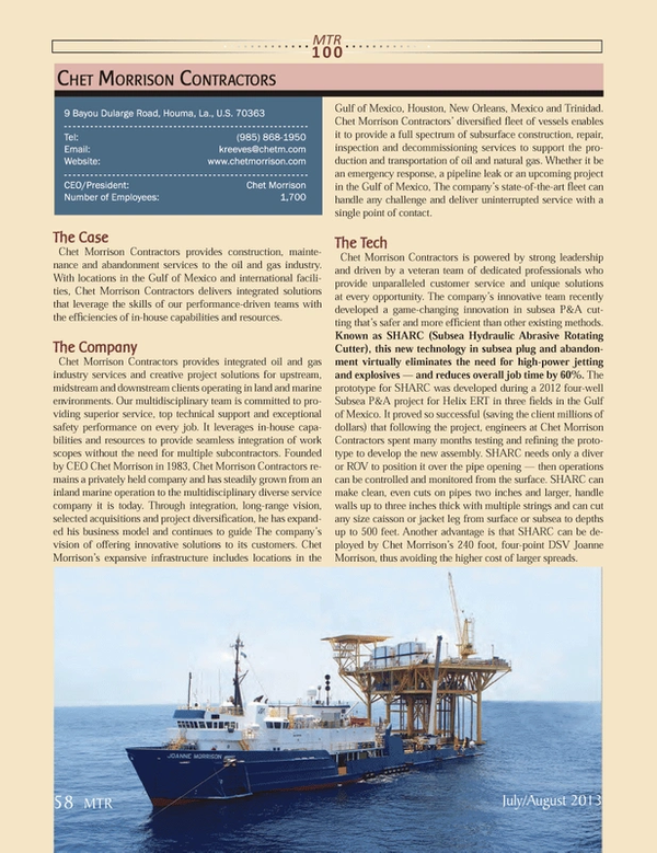 Marine Technology Magazine, page 58,  Jul 2013 New Orleans