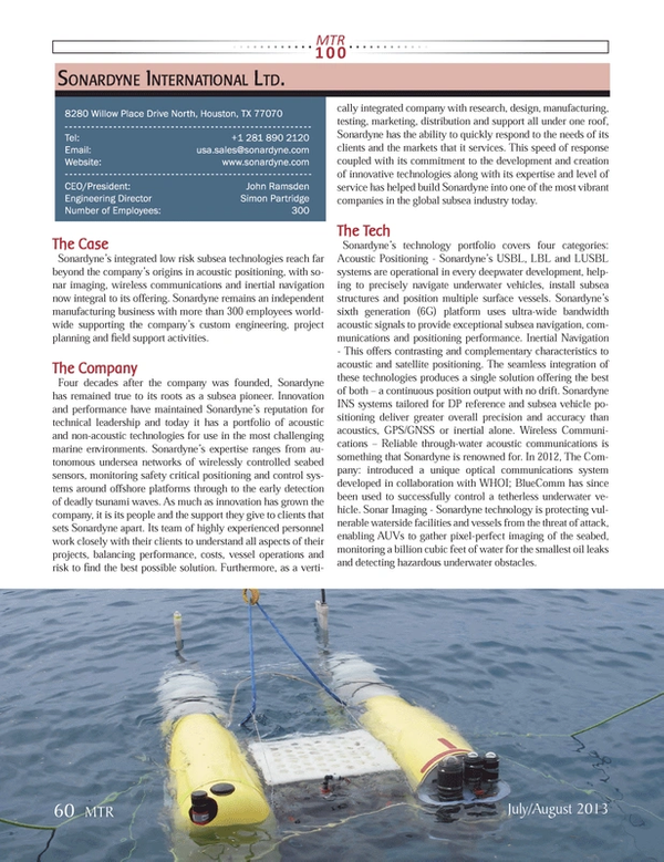 Marine Technology Magazine, page 60,  Jul 2013