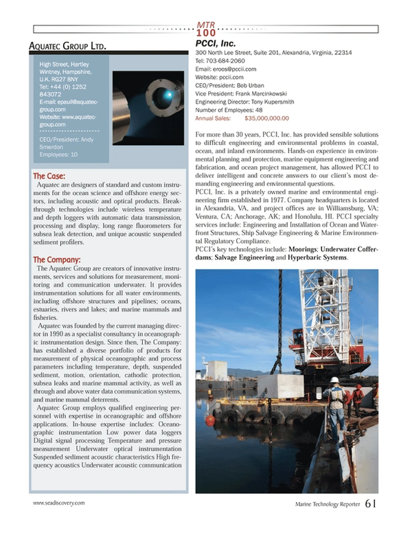 Marine Technology Magazine, page 61,  Jul 2013
