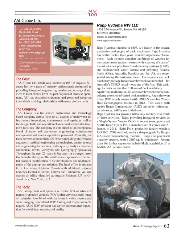 Marine Technology Magazine, page 63,  Jul 2013 New York