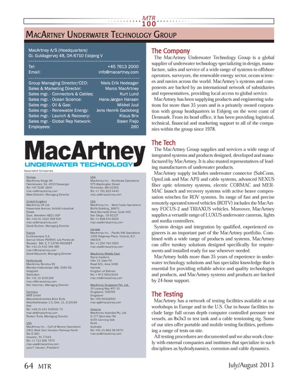 Marine Technology Magazine, page 64,  Jul 2013 API