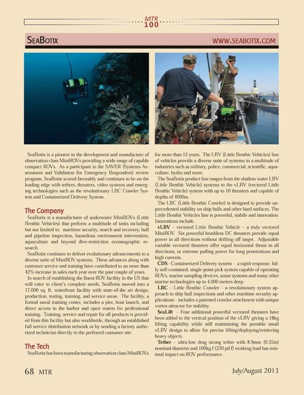 Marine Technology Magazine, page 68,  Jul 2013 environment intervention