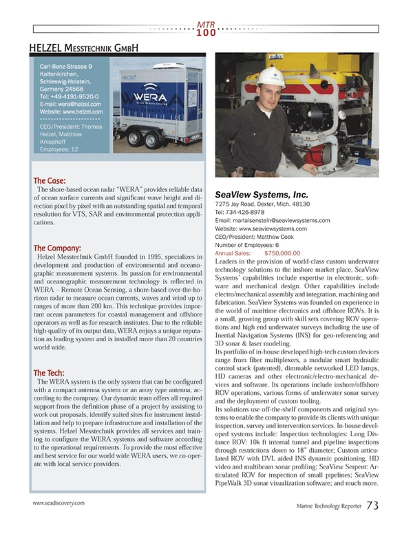 Marine Technology Magazine, page 73,  Jul 2013