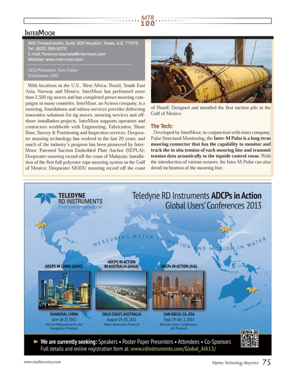 Marine Technology Magazine, page 75,  Jul 2013 Tom Fulton