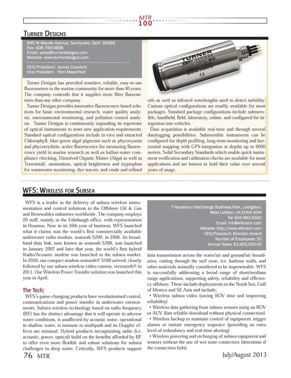 Marine Technology Magazine, page 76,  Jul 2013