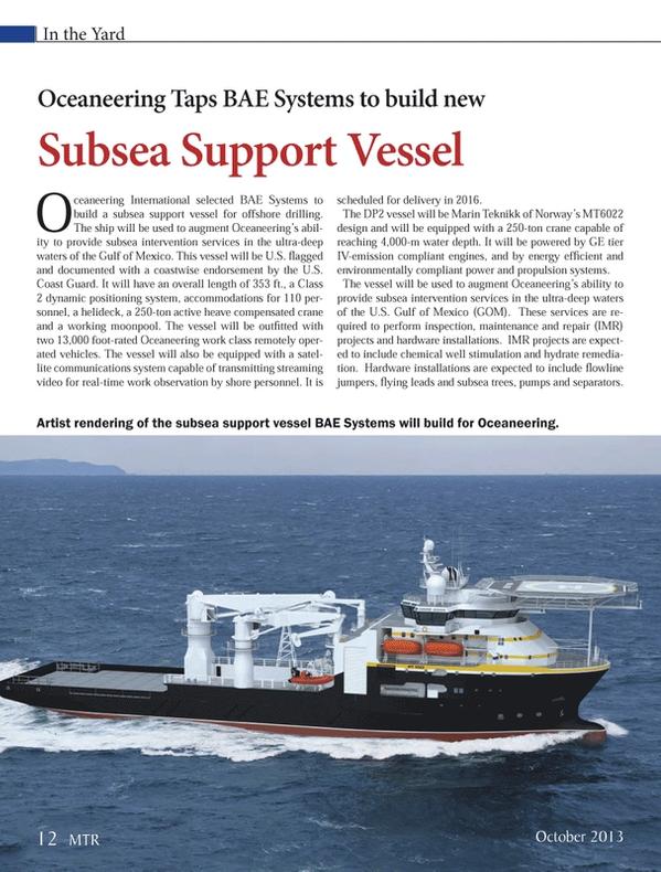 Marine Technology Magazine, page 12,  Oct 2013