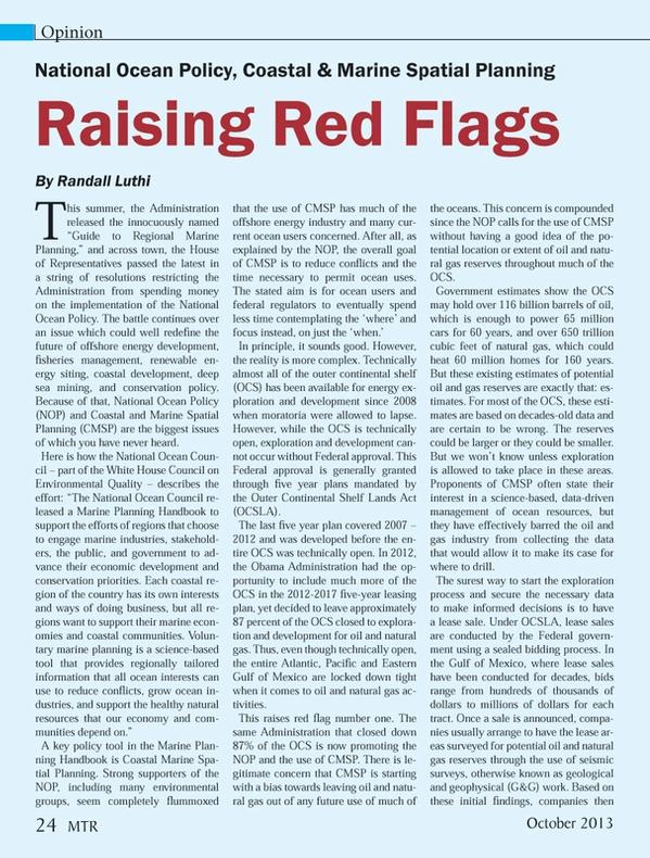 Marine Technology Magazine, page 24,  Oct 2013