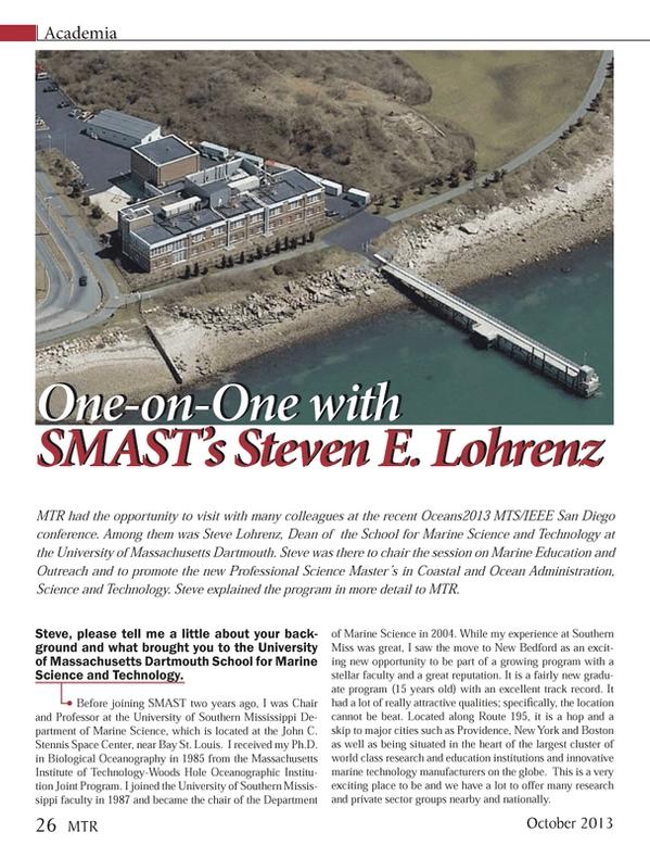 Marine Technology Magazine, page 26,  Oct 2013 Steven E. Lohrenz Steve