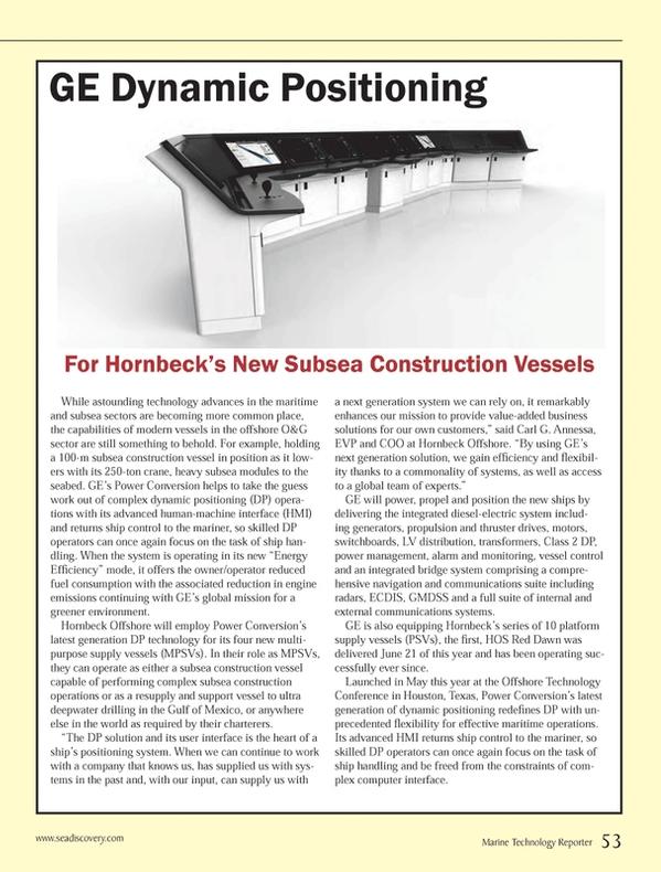 Marine Technology Magazine, page 53,  Oct 2013