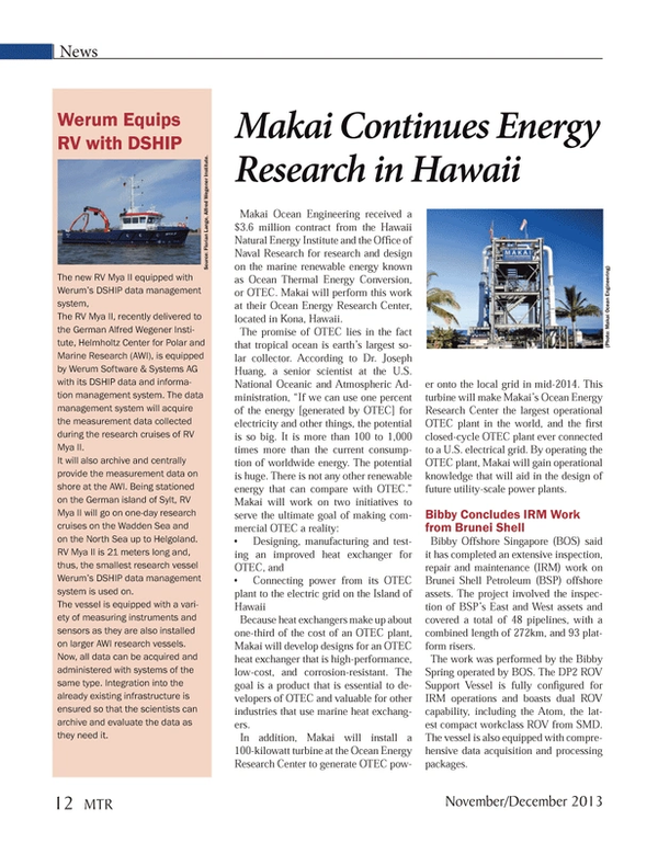 Marine Technology Magazine, page 12,  Nov 2013