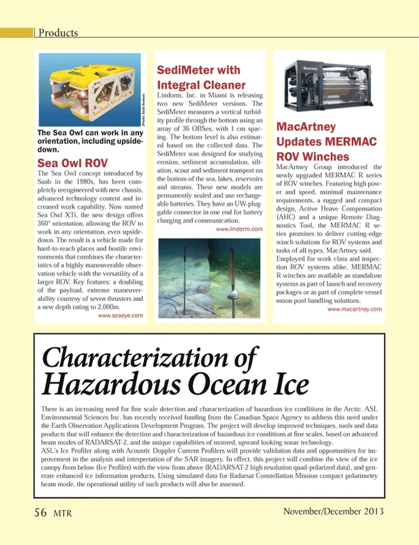 Marine Technology Magazine, page 56,  Nov 2013