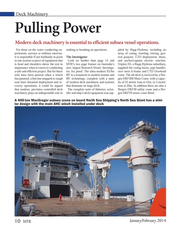Marine Technology Magazine, page 10,  Jan 2014