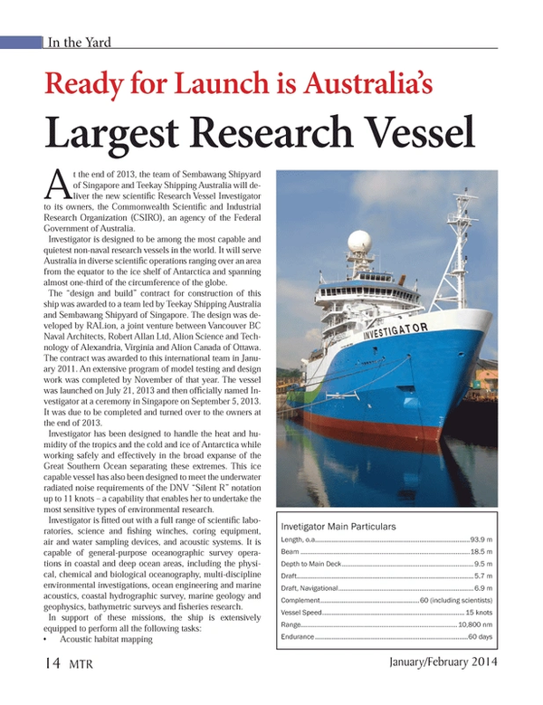 Marine Technology Magazine, page 14,  Jan 2014 Federal Government of Australia