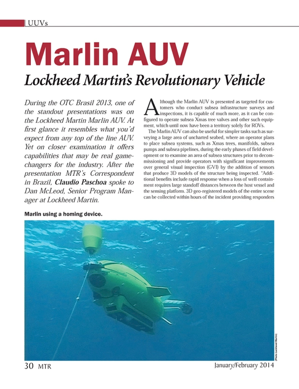 Marine Technology Magazine, page 30,  Jan 2014 subsea systems