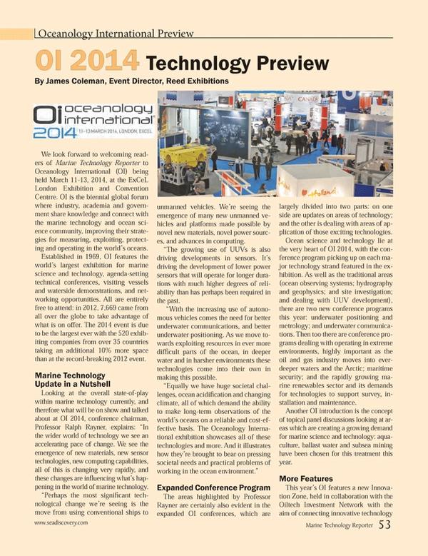 Marine Technology Magazine, page 53,  Jan 2014
