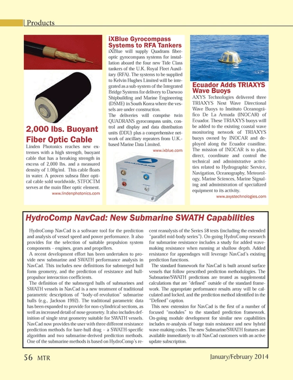 Marine Technology Magazine, page 56,  Jan 2014