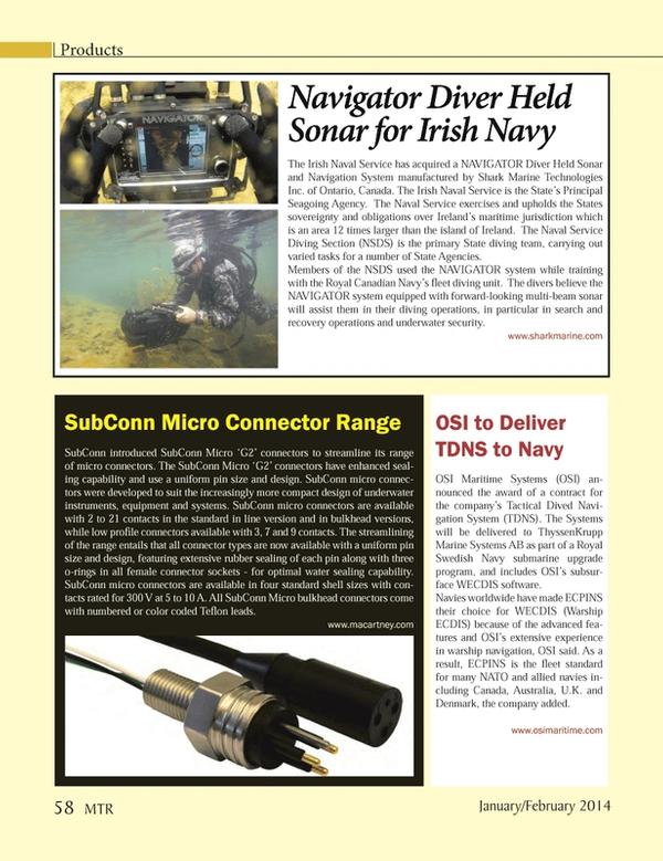 Marine Technology Magazine, page 58,  Jan 2014 Royal Swedish Navy