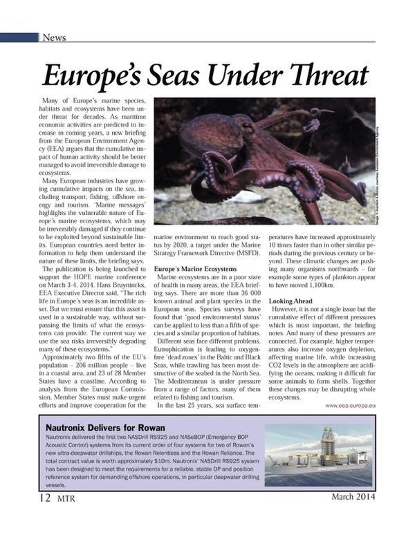 Marine Technology Magazine, page 12,  Mar 2014 Hans Bruyninckx