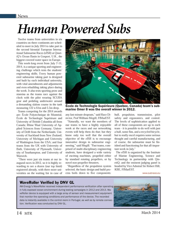 Marine Technology Magazine, page 14,  Mar 2014 Quebec