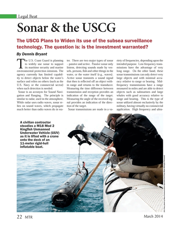 Marine Technology Magazine, page 22,  Mar 2014 subsea surveillance technology