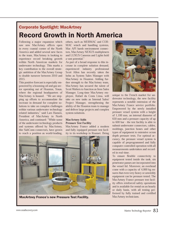 Marine Technology Magazine, page 83,  Mar 2014 Texas