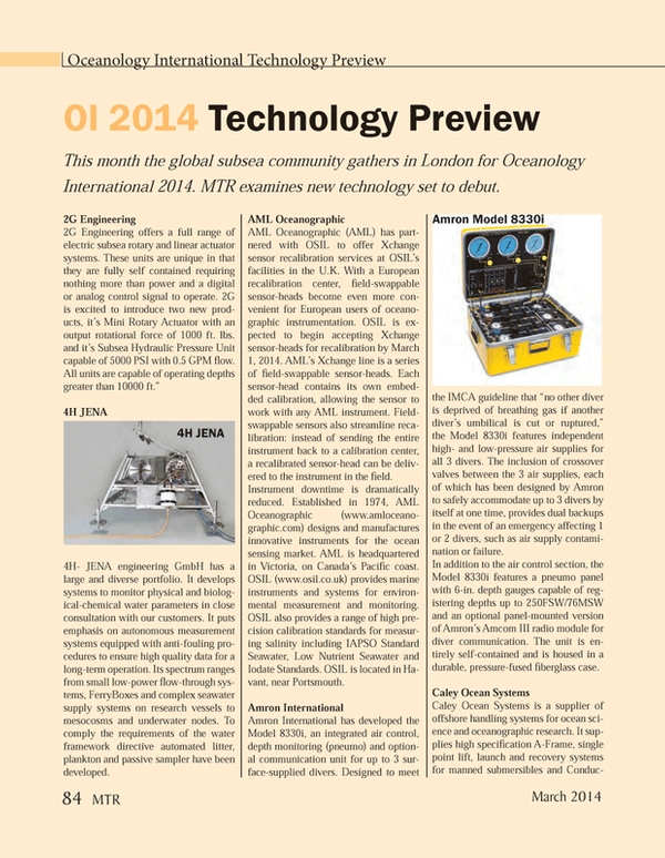 Marine Technology Magazine, page 84,  Mar 2014 DED