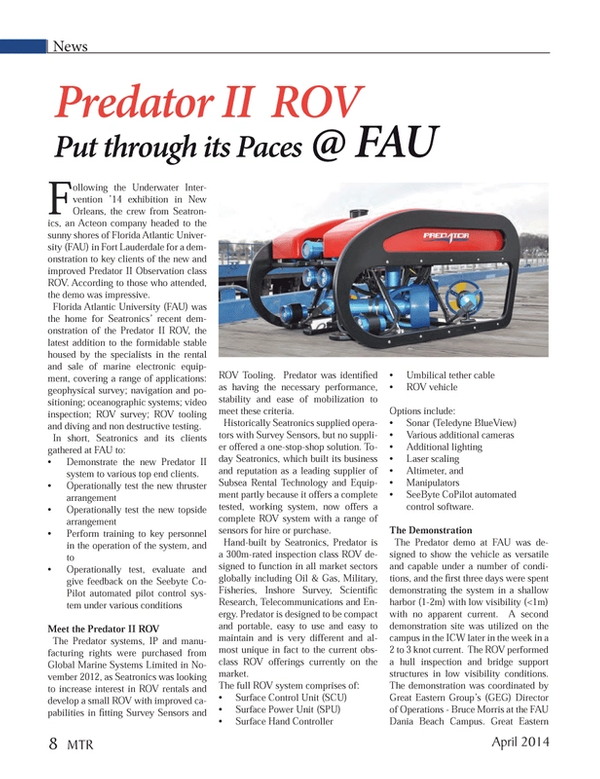Marine Technology Magazine, page 8,  Apr 2014 Bruce Morris