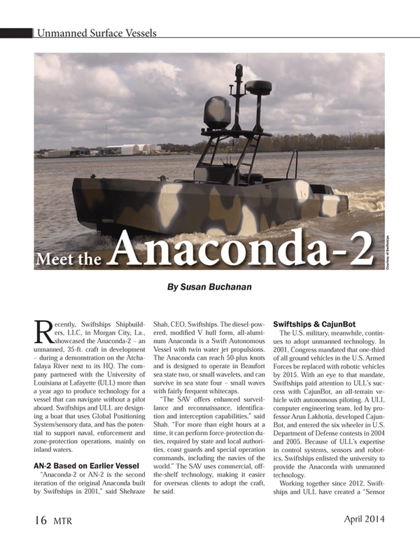 Marine Technology Magazine, page 16,  Apr 2014 U.S.