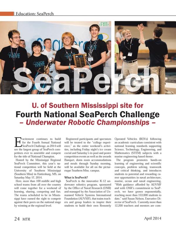 Marine Technology Magazine, page 24,  Apr 2014 University of Southern Mississippi