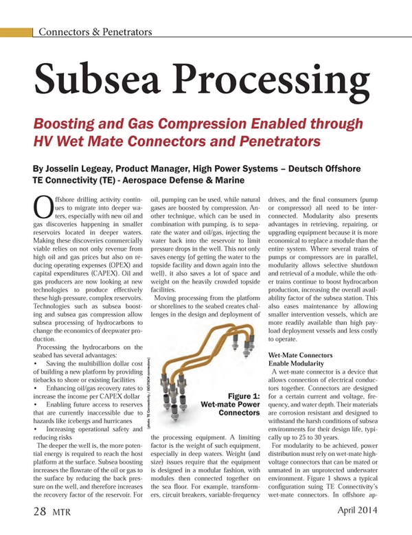 Marine Technology Magazine, page 28,  Apr 2014 oil and gas producers