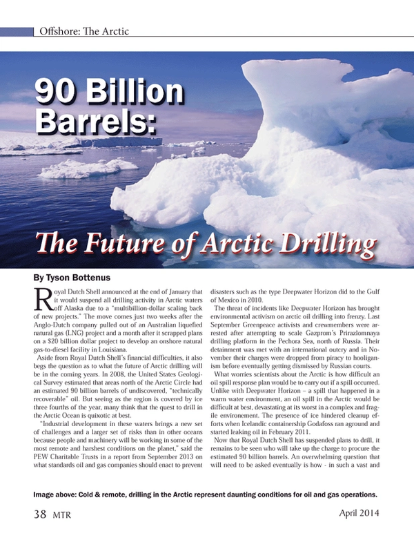 Marine Technology Magazine, page 38,  Apr 2014 Alaska