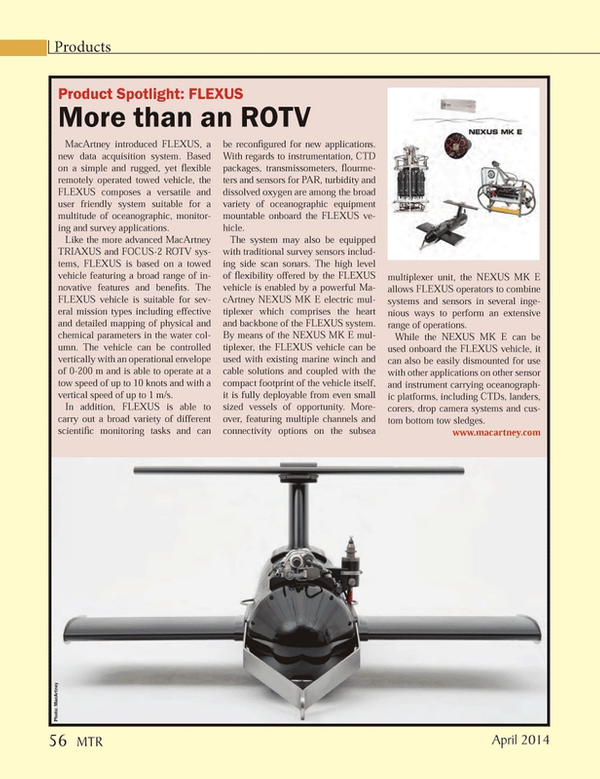 Marine Technology Magazine, page 56,  Apr 2014 survey applications