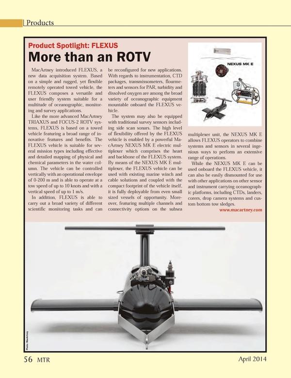 Marine Technology Magazine, page 56,  Apr 2014 survey applications