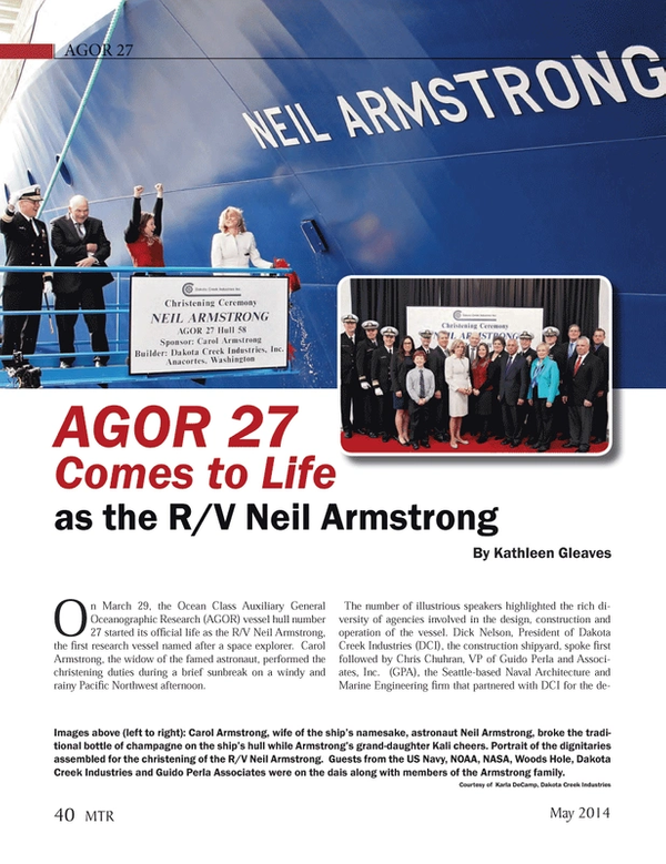 Marine Technology Magazine, page 40,  May 2014 Kali